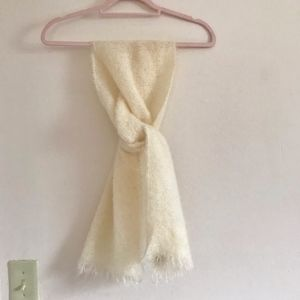 Vintage 100% Wool from Scotland White Scarf RARE